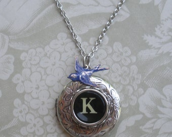 Typewriter Key Locket Necklace with bird charm-- Choice Of Letter--