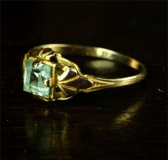 1890s Art Nouveau Fleur de Lys Engagement Ring / 10k Gold