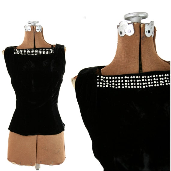 1950s Black Velvet Shell with Pearls and Rhinestones / S