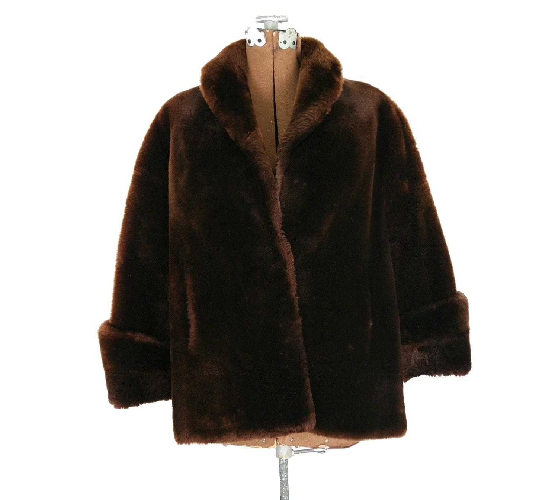 1940s Vintage Mouton Fur Sheepskin Jacket Brown S M L Xl