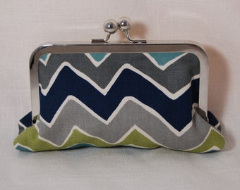 Crazy chevron clutch with grey linen lining on nickel free frame