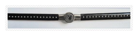 Vintage Black Leather PLAYBOY BUNNY Women's Skinny Studded Size M  L Belt