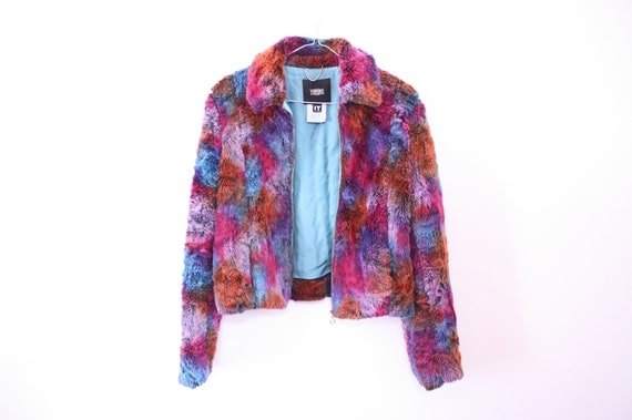 RESERVED OMG 80s VERSACE Rainbow Shaggy Faux Fur Jacket