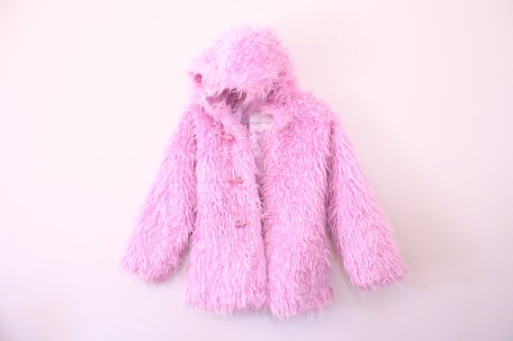 Amazing 90s Pastel Pink Raver Club Kid Shaggy Faux Fur Jacket