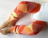 Red, Orange, With Yellow Circles Baby Legs / Girl Leg Warmers