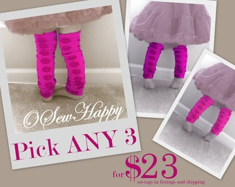 Pick Three ANY 3 Baby Legs/ Leg Warmers/ Pacifier Clips from OSewHappy store