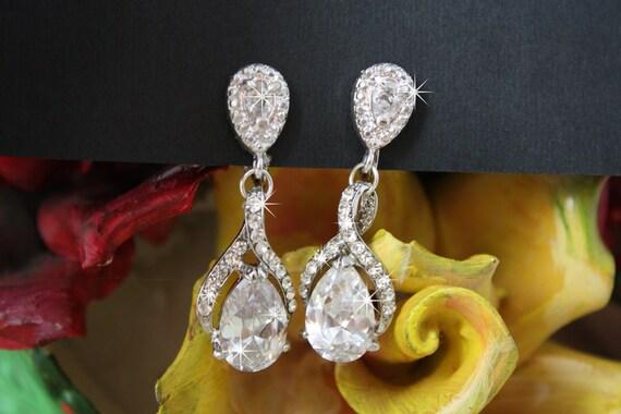 Twisted Drop Crystal Bridal Wedding Earrings, Zirconia Bridal Earrings, Clipons, Clip ons, Swarovski dangle clip-on or posts  earrings
