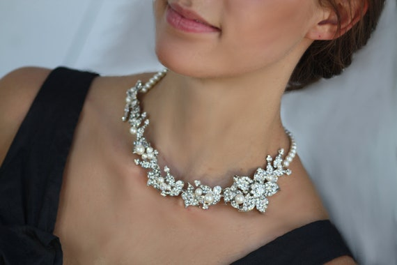 Lily Crystal and pearl bridal necklace
