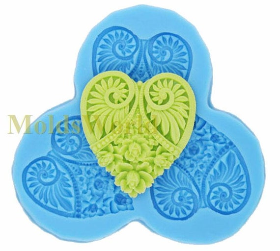 A083 Floral Heart Pendant Cabochon 3 Cavity Flexible Silicone Mold Mould for Crafts, Jewelry, Scrapbooking,  (resin, Utee, polymer clay)