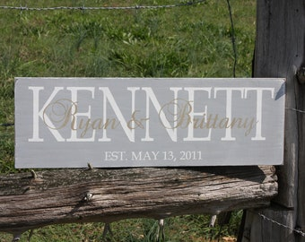 Family established sign. Personalized family name plaque.