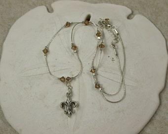 SALE Fleur de lis Necklace, Tan Crystal Necklace
