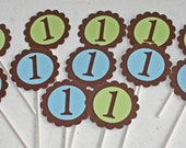 12 Colorful Age Number Cupcake Toppers blue green