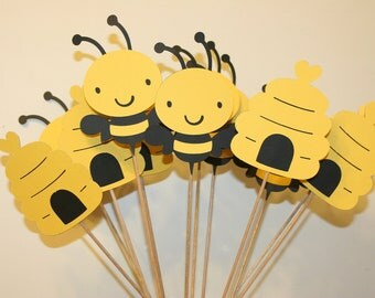 Set of 12 Bumble Bee Table Decorations, Centerpieces, Great for birthday parties or Baby Showers. MOmmy to Bee, Happy Beeday
