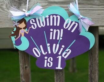 Purple and Aqua Seashell  Mermaid Door Sign Birthday Wall Decor