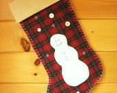 Personalized Christmas Stocking / Large Stocking / Wool Stocking / Woodland Snowman Stocking / Rustic Christmas Stocking / Cabin Stocking