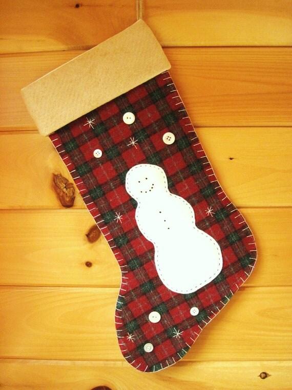 Personalized Christmas Stocking / Large Stocking / Wool Stocking / Woodland Snowman Stocking / Rustic Christmas Stocking / Cabin Stocking