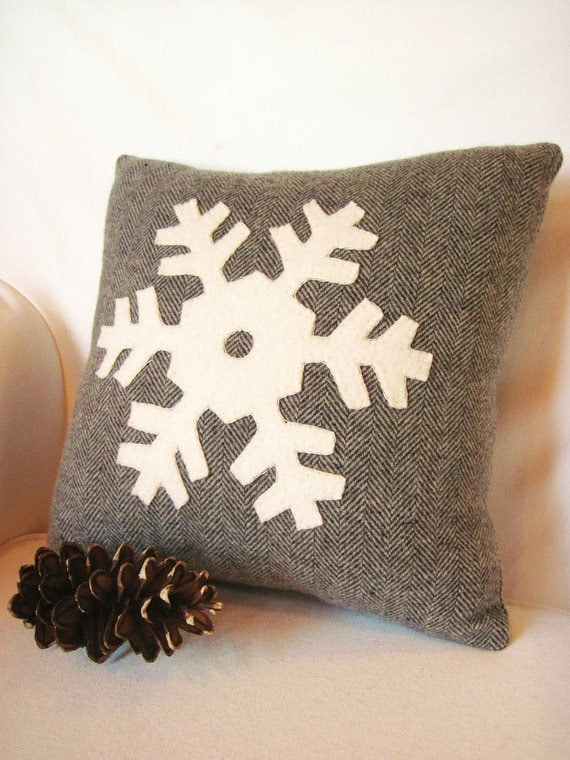 Winter Snowflake Pillow Decorative Winter Pillow Gray