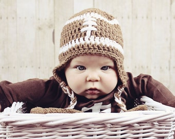 Custom Order baby crochet football earflap beanie