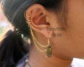 Gold (or Silver) Owl Ear Cuff Earring