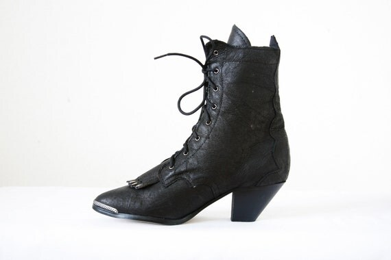 Steampunk Black Granny Roper Boots US Women's Size 6 Vintage 80s Like New Condition