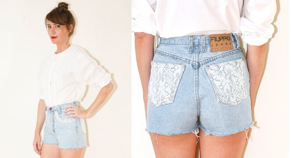 High Waisted Crochet Lace Pocket Jean Cut Off Shorts Vintage 90s W28 Medium
