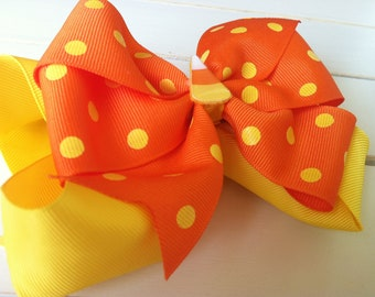Girls Halloween Hair Bow-Stacked Halloween Hair Bow-Candy Corn Hair Bow-Orange and Yellow Hair Bow-Design Your Own Hair Bow
