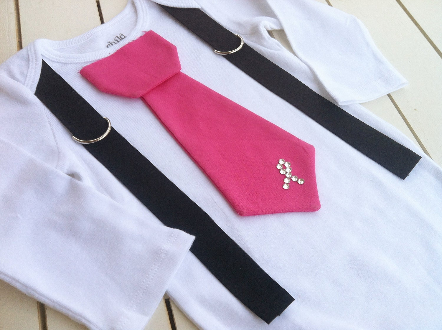 Baby Boys Hot Pink Tie Bodysuit-Breast Cancer By Betterthanbows-3904
