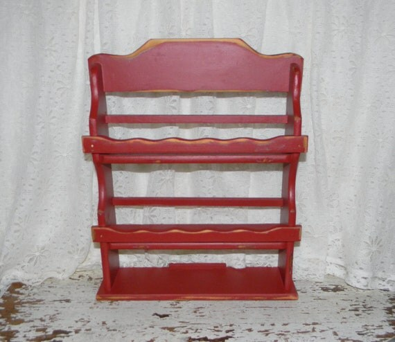 Reclaimed Vintage Spice Rack Distressed Farmhouse Red Kitchen Decor