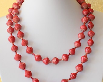 Multi Color Paper Beads Necklace. Extra Long Lariat. Papier Mache Beads. Ethnic Style. Hand Rolled. Paper Marche PM02. MapenziGems