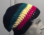 Unisex Rasta Flag Slouch Beanie-Unisex Hat-Grunge Rocker Slackster Striped Hat