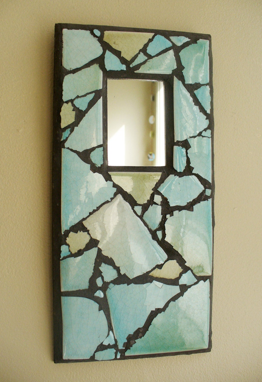 Mosaic mirror decorative mirror small mirror ceramic tile blue for Small decorative mirrors