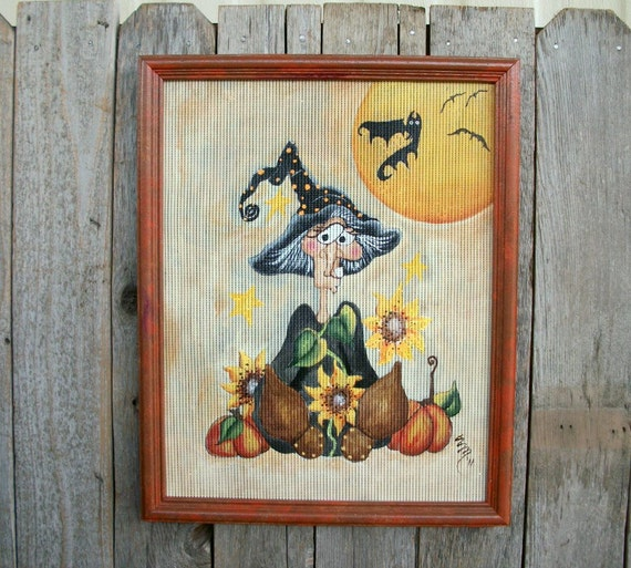Handpainted Witch. Whimsical Folk Art. Sunflowers. Full Moon. Black Bats. Halloween Decor. 12x15