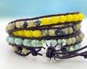 Lemon Tree... Leather wrap bracelet... 4 rounds beaded leather wrap bracelet... Original OceanBead Style.