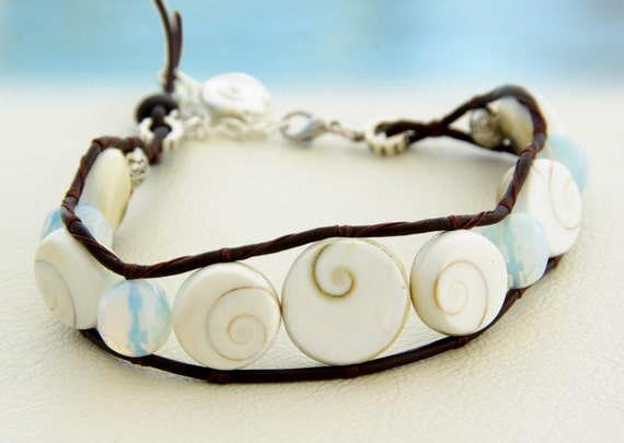 Shiva Eye... Leather Wrap Anklet. Original OceanBead style. Shiva Eye beads , moonstone leather wrap anklet.