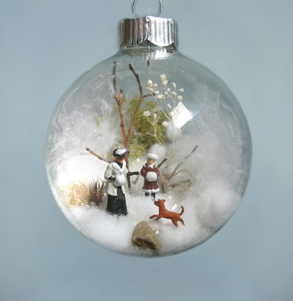 Mother, Daughter, Chocolate Lab Winter Scene Glass Ornament, Woman, Girl, Victorian, 1900s