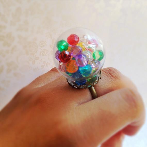 Glass Globe Statement Ring Gumball Machine Colorful