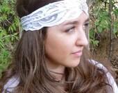 Boho Stretch Lace Headband, White Turban with Crystal Brooch -- Vintage Inspired, Wedding Bridal
