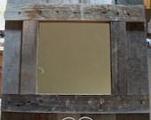 Rustic Antiqued Cedar Wood Frame with Mirror