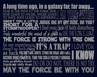 "Star Wars Art Quote Inspired Typography - 11"" by 14"" READY TO SHIP"