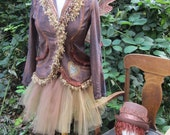 Upcycled Steampunk Clothing, Copper Fairy Costume, Victorian Pixie, Carnival, Circus, Autumn Fairy