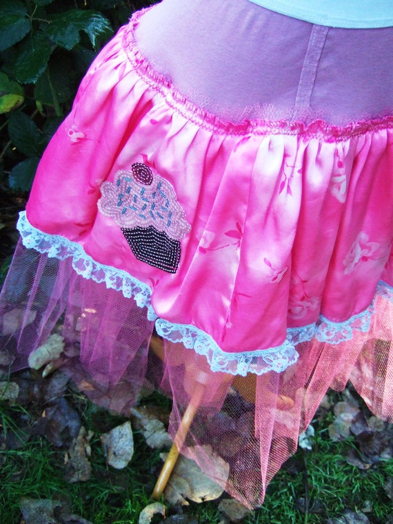 Upcycled Steampunk Clothing, Underwear Tutu Hot Pink Satin and Tulle with Cupcake Sequined Applique, Candy Glamour Trash