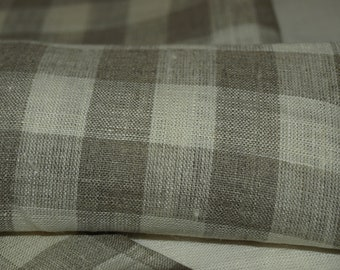 """SALE Linen Towels Set of 2 20""""x28"""" Ivory and Grey Checked"""