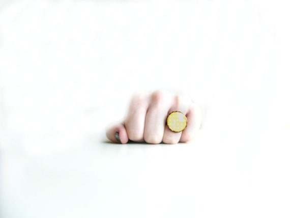 Mustard Yellow Ring With White Polka Dots on An Adjustable Antique Bronze Band - Under 25, 20