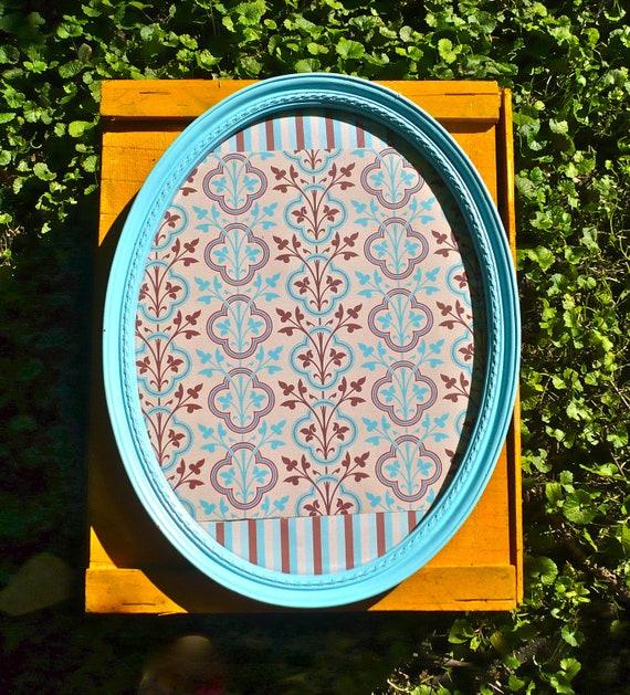 Vintage Homco Oval Frame with Glass Syroco 3276 Aqua Blue
