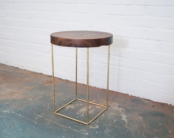 Crescent Side Table - Solid Walnut and Brass Base