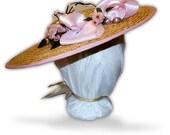 Austentation Jane Austen Georgian Regency Bergere Straw Hat and Hatpin: Marie, MTO