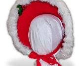 Austentation Jane Austen Late Regency Early Victorian Style Felt Bonnet: White Christmas