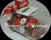 PERSONALIZED Valentines Day message in a bottle on kisses and 3 strawberries made from walnuts in a half pint jar