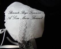 Heirloom Baby Bonnet Magic hanky bonnet WHITE Filigree Park Avenue lace Showers Christening and Dedications