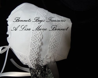 Heirloom Baby Bonnet Magic hanky bonnet WHITE Filigree Park Avenue lace Showers Christening and Dedications